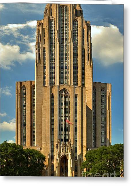 Cathedral Of Learning Greeting Cards - Pitt Cathedral Of Learning Greeting Card by Adam Jewell