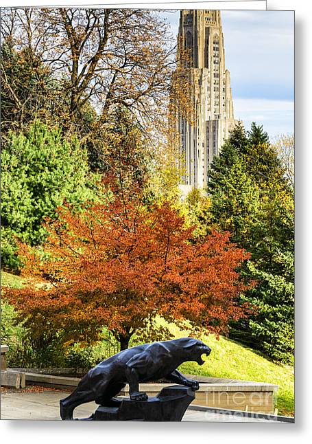 Cathedral Greeting Cards - Pitt Panther and Cathedral of Learning Greeting Card by Thomas R Fletcher