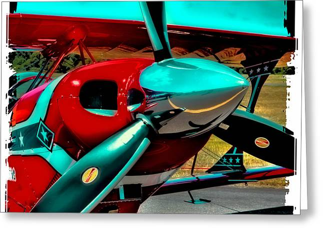 Airplane Engine Greeting Cards - Pitts S2-B Biplane Greeting Card by David Patterson