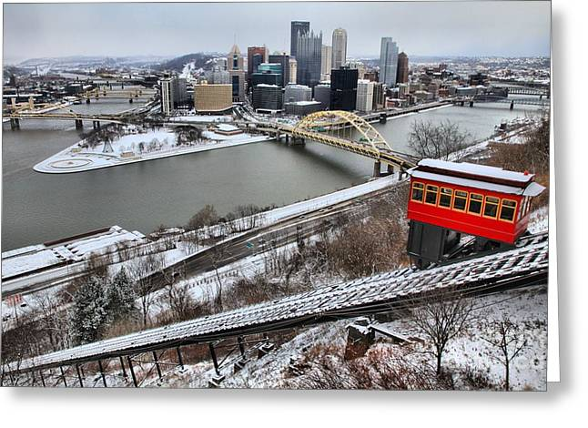 Downtown Pittsburgh Greeting Cards - Pittsburgh Duquesne Incline Winter Greeting Card by Adam Jewell