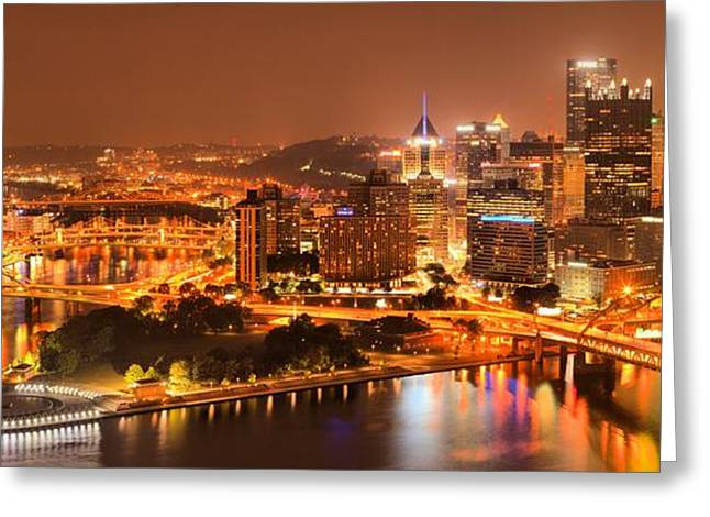 Pittsburgh Aglow Greeting Card by Adam Jewell