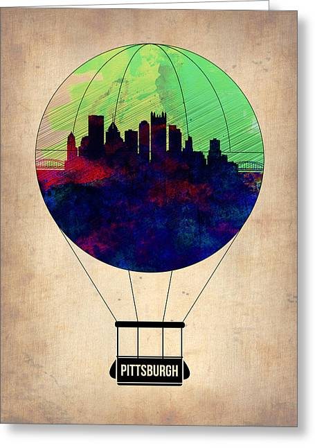 Tourists Greeting Cards - Pittsburgh Air Balloon Greeting Card by Naxart Studio