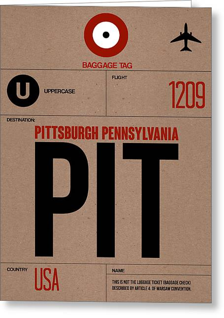 Pennsylvania Mixed Media Greeting Cards - Pittsburgh Airport Poster 1 Greeting Card by Naxart Studio