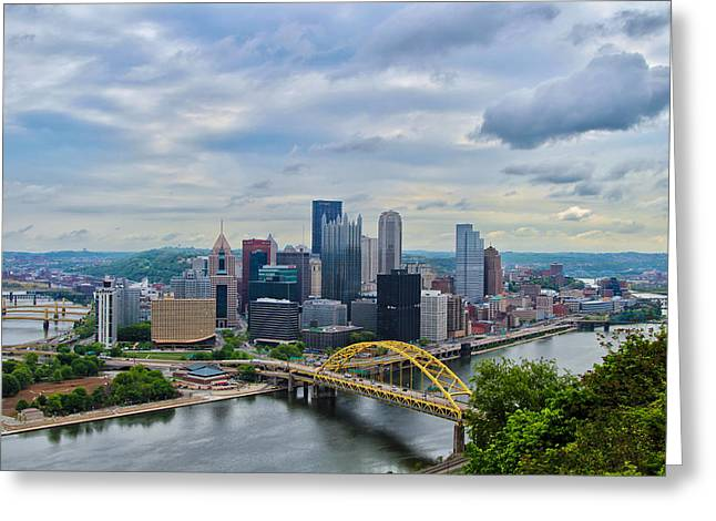 River View Greeting Cards - Pittsburgh and Above Greeting Card by Rachel Cohen