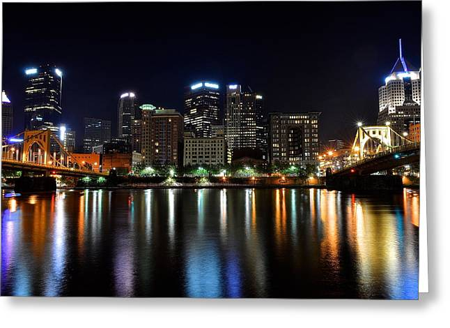 Pnc Park Greeting Cards - Pittsburgh at 2AM Greeting Card by Frozen in Time Fine Art Photography