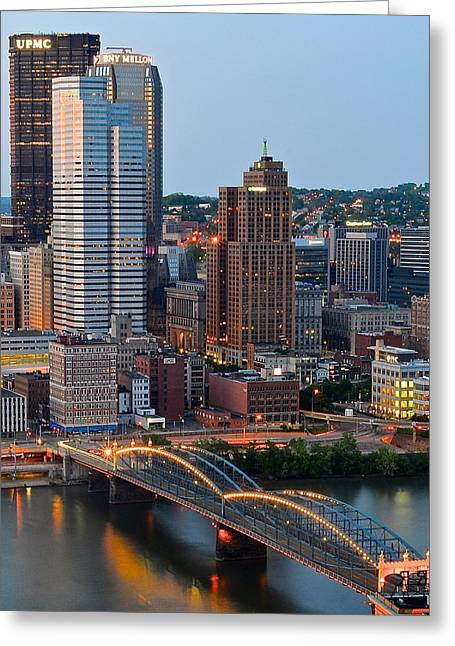 Incline Greeting Cards - Pittsburgh at Dusk Greeting Card by Frozen in Time Fine Art Photography