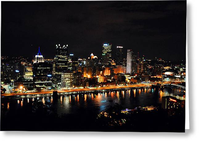 Pittsburgh At Night Greeting Card by Davids Digits