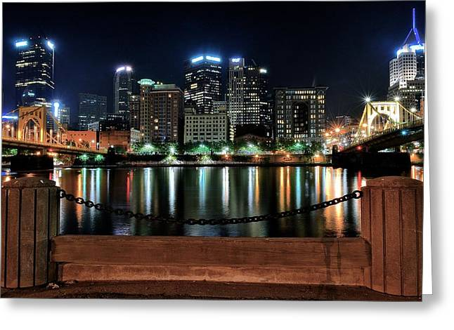 Clemente Greeting Cards - Pittsburgh at Night Greeting Card by Frozen in Time Fine Art Photography