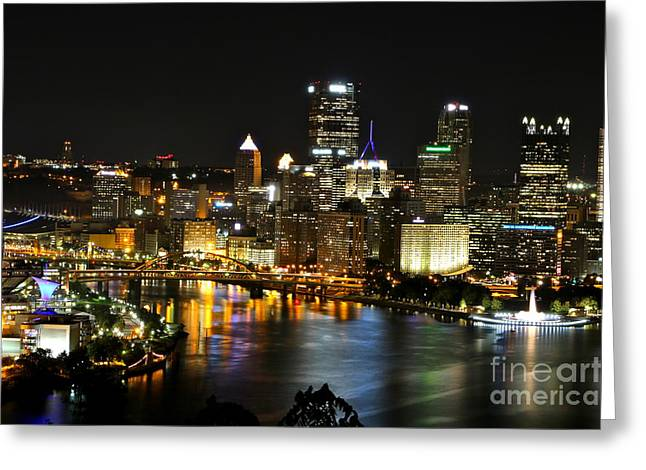 Jay Nodianos Greeting Cards - Pittsburgh Autumn Night 1 Greeting Card by Jay Nodianos