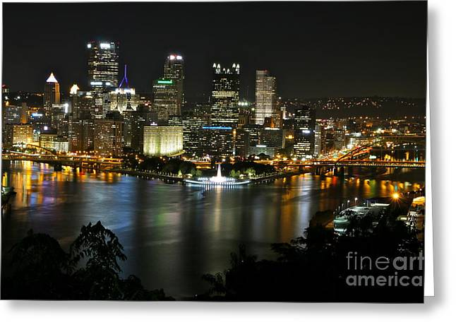Jay Nodianos Greeting Cards - Pittsburgh Autumn Night 2 Greeting Card by Jay Nodianos