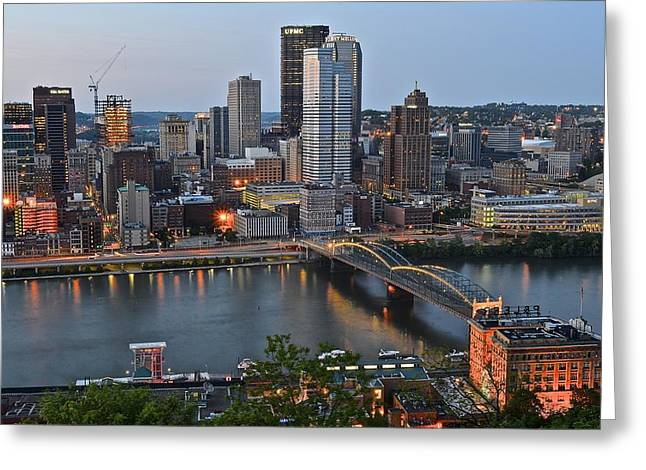 Pnc Park Greeting Cards - Pittsburgh Before Sunset Greeting Card by Frozen in Time Fine Art Photography