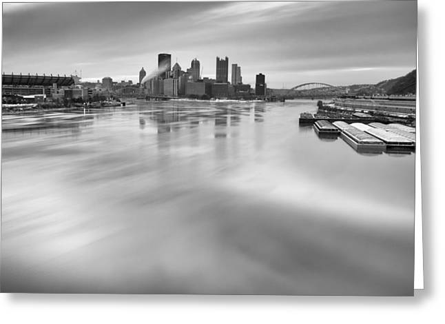 Pnc Park Greeting Cards - Pittsburgh  black and white Greeting Card by Emmanuel Panagiotakis