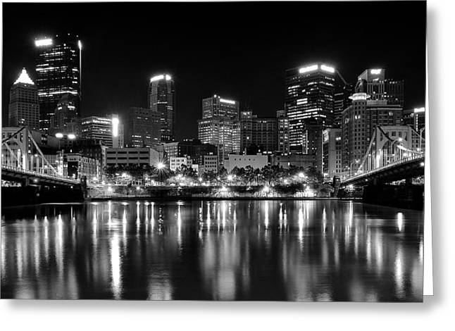 Pittsburgh Black And White Panorama Greeting Card by Frozen in Time Fine Art Photography