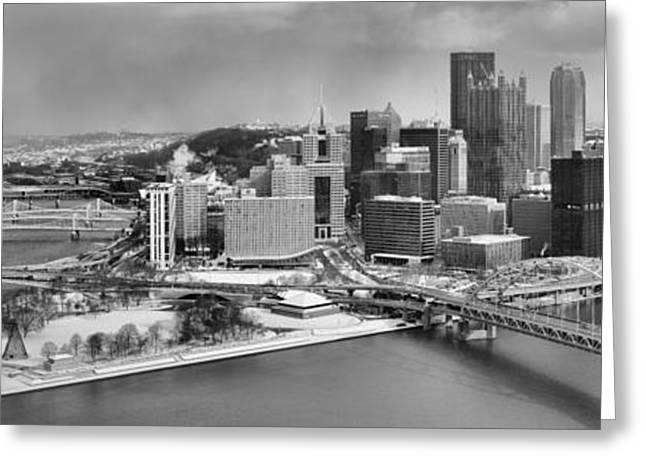 Pittsbugh Greeting Cards - Pittsburgh Black And White Winter Panorama Greeting Card by Adam Jewell