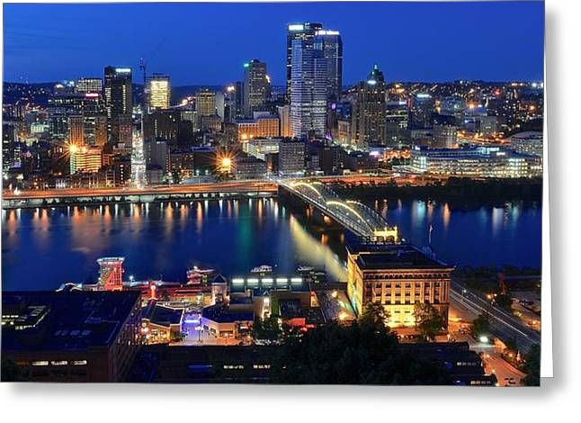 Clemente Greeting Cards - Pittsburgh Blue Hour Panorama Greeting Card by Frozen in Time Fine Art Photography