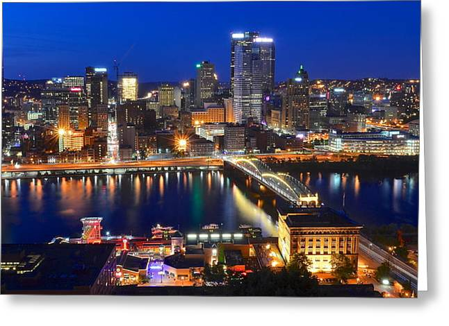 Pittsburgh Blue Hour Panorama Greeting Card by Frozen in Time Fine Art Photography