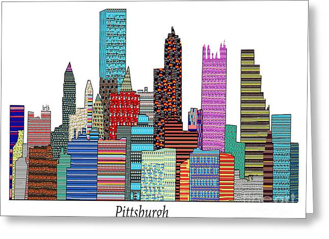 Allegheny Drawings Greeting Cards - Pittsburgh Greeting Card by Bri Buckley