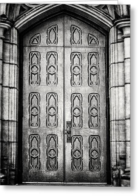 Ornate Door Greeting Cards - Pittsburgh Church Door in Black and White Greeting Card by Lisa Russo