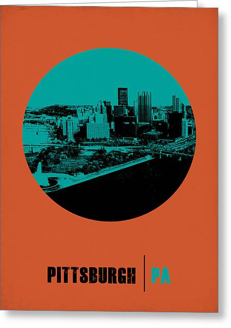 Pittsburgh Digital Greeting Cards - Pittsburgh Circle Poster 1 Greeting Card by Naxart Studio