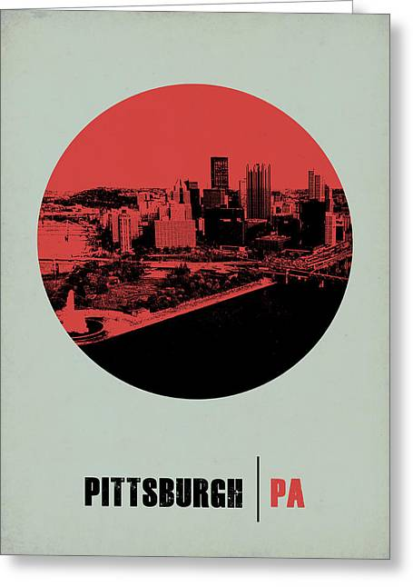 Pittsburgh Digital Greeting Cards - Pittsburgh Circle Poster 2 Greeting Card by Naxart Studio