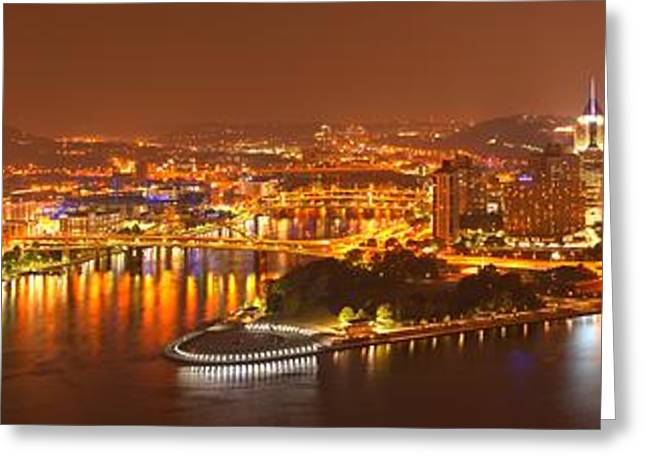 Incline Greeting Cards - Pittsburgh City Of Lights Medium Panorama Greeting Card by Adam Jewell