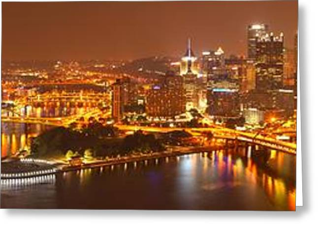 Incline Greeting Cards - Pittsburgh City Of Lights Panorama Greeting Card by Adam Jewell
