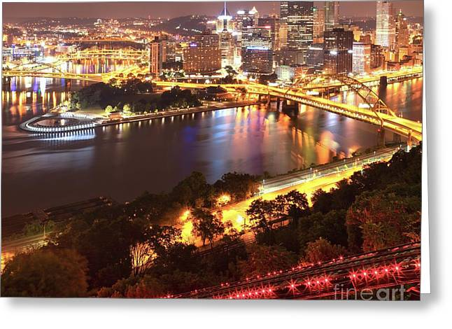Incline Greeting Cards - Pittsburgh City Sky Lights Greeting Card by Adam Jewell