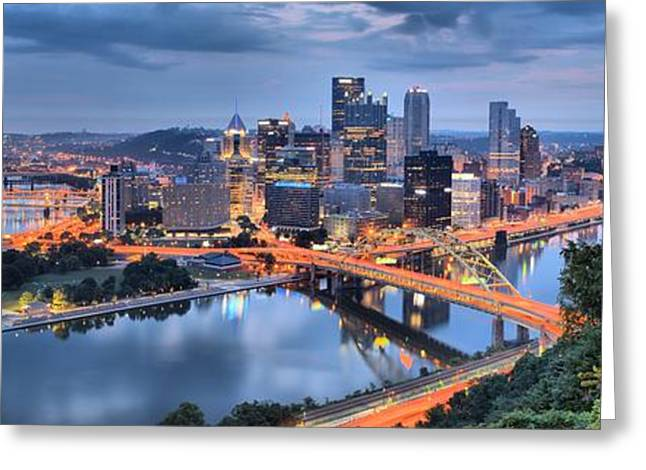 City Of Champions Greeting Cards - Pittsburgh Cityscape Sunrise Greeting Card by Adam Jewell