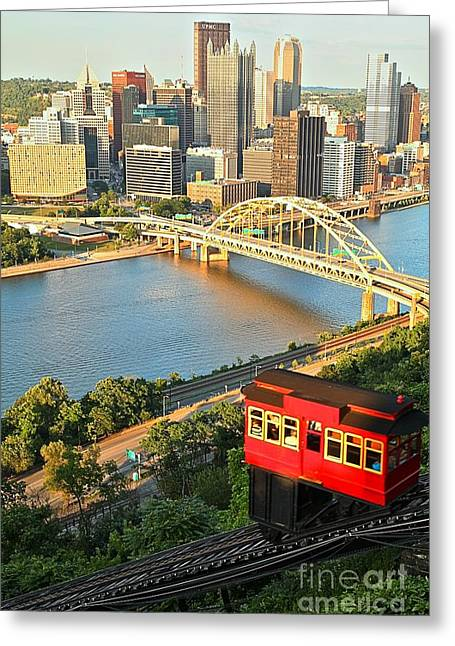 Incline Greeting Cards - Pittsburgh Duquesne Incline Greeting Card by Adam Jewell