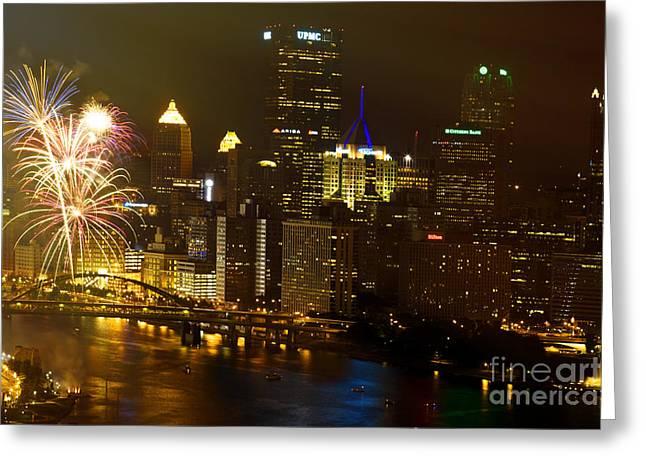 Pittsburgh Skyline.fireworks Greeting Cards - Pittsburgh Fireworks Greeting Card by Jan Tyler