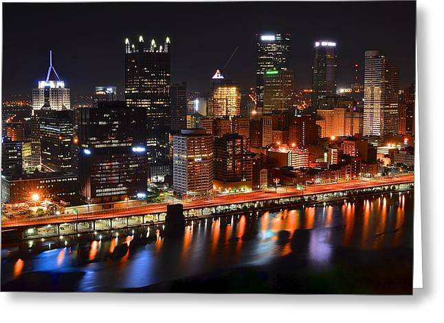 Reflecting Water Greeting Cards - Pittsburgh from Above Greeting Card by Frozen in Time Fine Art Photography