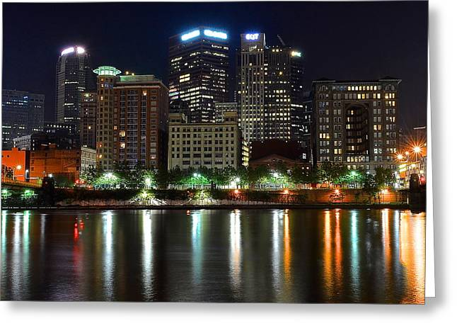 Pnc Park Greeting Cards - Pittsburgh From Below Greeting Card by Frozen in Time Fine Art Photography