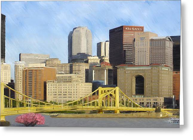 Pnc Park Digital Art Greeting Cards - Pittsburgh From PNC Park Greeting Card by David Head