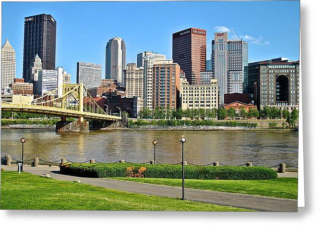 Downtown Pittsburgh Greeting Cards - Pittsburgh from the Park Greeting Card by Frozen in Time Fine Art Photography