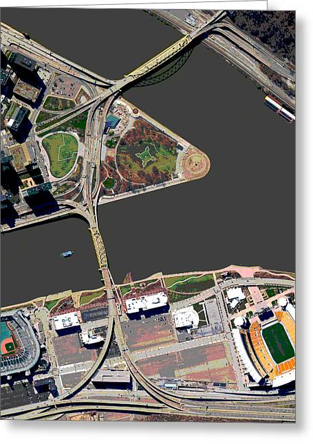 Baseball Stadiums Greeting Cards - Pittsburgh Golden Triangle 2 Greeting Card by Frank Tozier