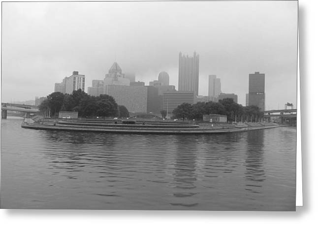 Pittsburgh In The Clouds Greeting Card by Sonia Bruno