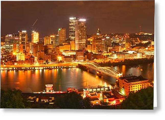 Pittsburgh In The Monongahela River Greeting Card by Adam Jewell