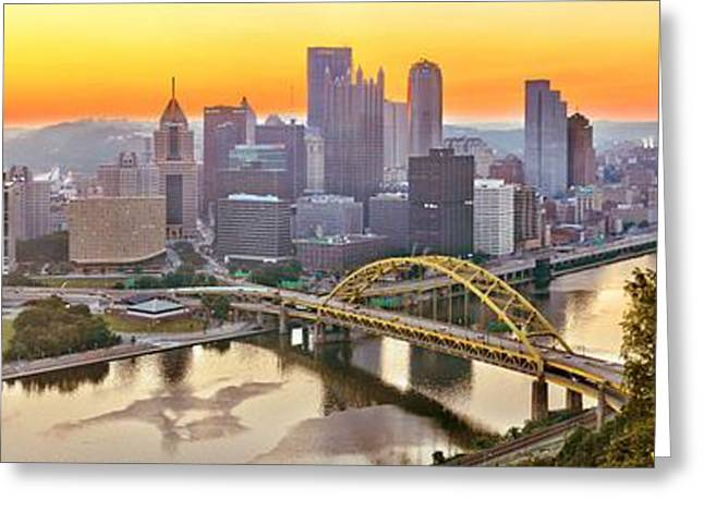 Duquesne Incline Greeting Cards - Pittsburgh Incline Sunrise Panorama Greeting Card by Adam Jewell