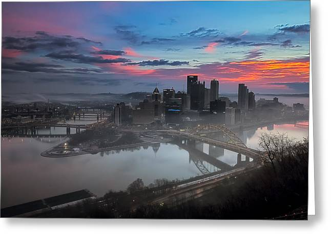 Temperature Inversion Greeting Cards - Pittsburgh January Thaw Greeting Card by Jennifer Grover