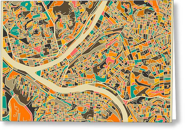 Abstract Map Greeting Cards - Pittsburgh Map Greeting Card by Jazzberry Blue