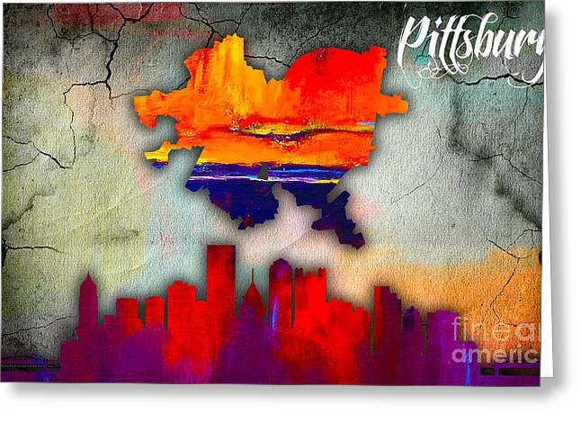 Skyline Greeting Cards - Pittsburgh Map and Skyline Watercolor Greeting Card by Marvin Blaine