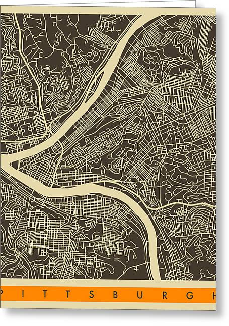 Modern Abstract Print Greeting Cards - Pittsburgh Map Greeting Card by Jazzberry Blue