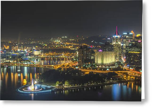 Allegheny Greeting Cards - Pittsburgh Night Greeting Card by Brian Young