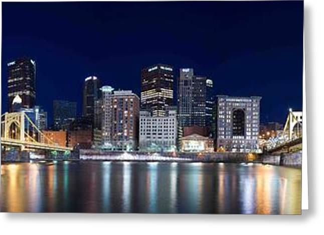 Clemente Greeting Cards - Pittsburgh Night Panorama Greeting Card by Jason Foose