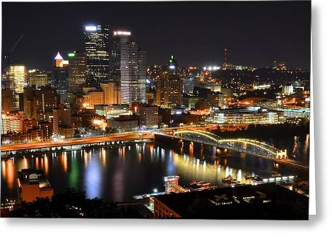 Pnc Park Greeting Cards - Pittsburgh Night Panorama Greeting Card by Frozen in Time Fine Art Photography
