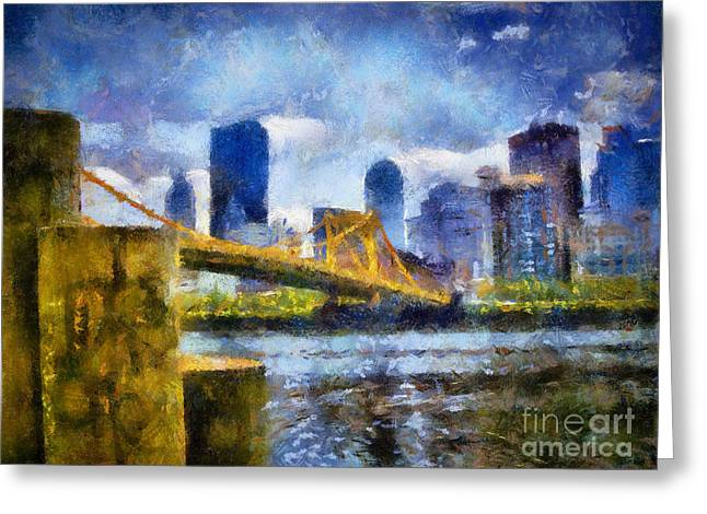 North Shore Greeting Cards - Pittsburgh North Shore Skyline Greeting Card by Amy Cicconi