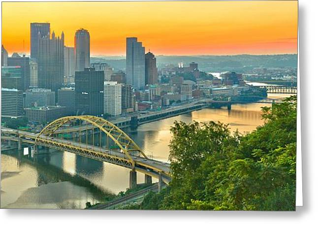 Duquesne Incline Greeting Cards - Pittsburgh Orange Skyline Greeting Card by Adam Jewell