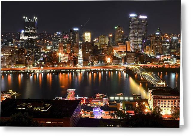 Honus Wagner Greeting Cards - Pittsburgh Over the Monongahela Greeting Card by Frozen in Time Fine Art Photography