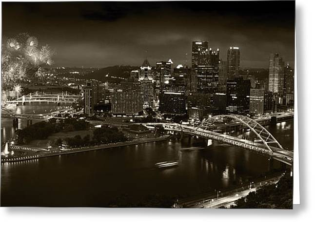Pittsburgh P A  B W Greeting Card by Steve Gadomski