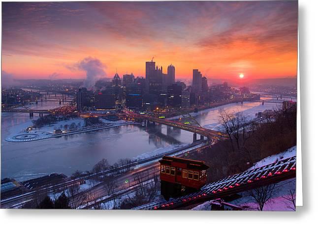 Pittsburgh Skyline Winter 2 Greeting Card by Emmanuel Panagiotakis